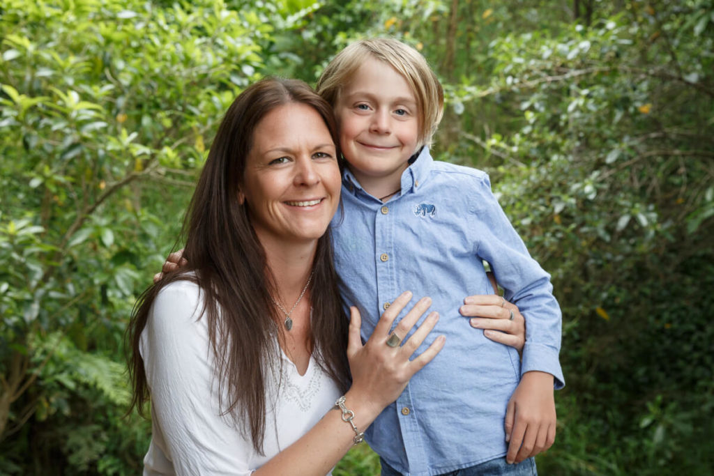 Mum and son family portrait with native bush background